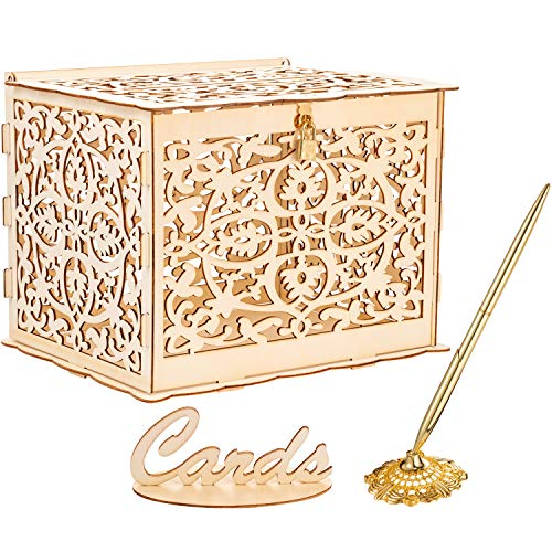 Outus Wedding Card Box with Lock, Card Sign and Wedding Pen Set Wooden Gift Card Box Money Box Hollow Round Pen Holder Signing Pen for Reception Wedding Baby Showers Birthdays Graduations Decorations