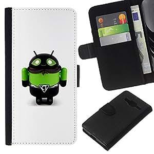 Toy Robot abeja verde Monster Hombre- la tarjeta de Crédito Slots PU Funda de cuero Monedero caso cubierta de piel Para Samsung Galaxy Core Prime