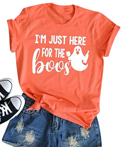 Tee Shirt Blanc Halloween (I'm Just Here for The Boos T-Shirt Women Funny Halloween Short Sleeve Tees Tops Size XL (As)