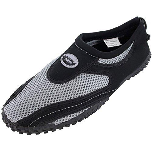 Dealstock Zapatos De Agua Para Hombre Calcetines De Aqua Yoga Ejercicio Piscina Baile De Playa Nadada Slip On Surf (10+ Colores) Negro / Gris
