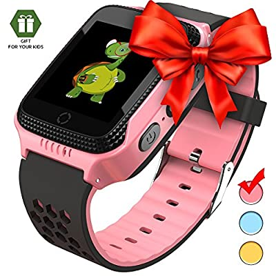 Smart Watch for Kids - Smart Watches for Boys Smartwatch GPS Tracker Watch Wrist Android Mobile Camera Cell Phone Best Gift for Girls Children boy Pink Blue Yellow | Computers