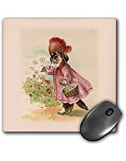 3dRose LLC 8 X 0.25 Inches Mouse Pad, Cute Victorian Cat in Pink Dress (mp_38106_1)