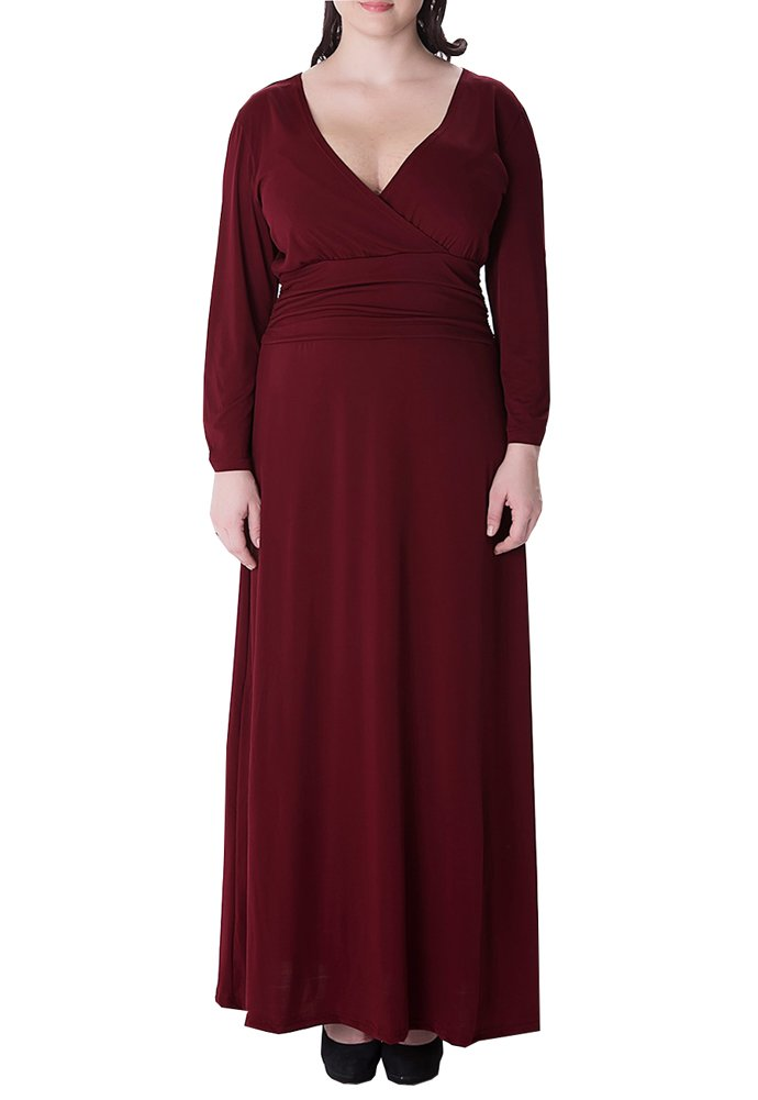 Wicky LS Women's Plus Size V Neck Dress Long Evening Gowns Style 1 Red XL