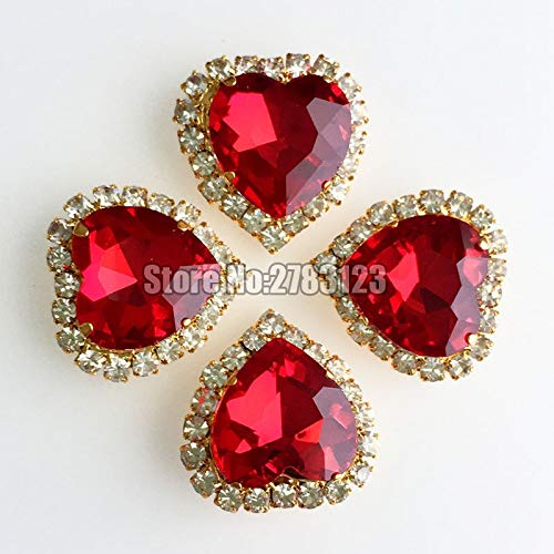 Best Quality - Heart Shape - Brigh red 12mm 10pcs/20pcs Heart Glass Crystal Buckle, Gold Base sew on Rhinestones,DIY/Clothing Accessories SKHJ08 - by Olwen Shop