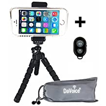 Flexible Cell Phone Tripod for iPhone X 8 7 6s 6 SE 5s 5c 4s 4 Samsung Galaxy S8 S7 S6 S5 S4 - Smartphone Adapter Mount - Bluetooth Remote - DaVoice Carry Bag Octopus Flex Bendable Mini Pocket (Black)
