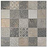 SomerTile FGFDECCA Caldazer Décor Ardesano Porcelain Floor and Wall Tile, 17.5'' x 17.5'', Grey/Beige/White