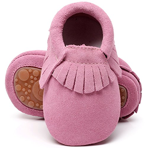 (HONGTEYA Leather Baby Moccasins Hard Soled Tassel Crib Toddler Shoes for Boys and Girls (18-24 Months/5.51inch, Suede Pink))