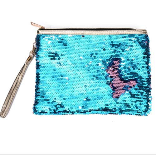 Travel Cosmetic Bag Mermaid Sequin Makeup Pouch Wash Organizer Storage Purse (Colour - #1 Mermaid Sequin - Blue)