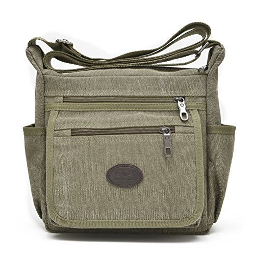 Qflmy Vintage Canvas Messenger Bag Handbag Crossbody Shoulder Bag Leisure Change Packet (green)