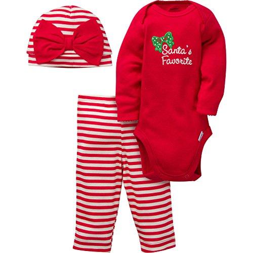 Gerber Girls' 3 Piece Bodysuit, Santa Favorite, 3-6 (Baby Girls Favorite Cotton)