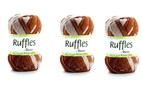Ruffles Fancy Yarn Brown Scarf Making Ruffly Yarn (3 Pack)