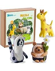 Needle Felting Beginner kit - Wool Felting Cute Animals KitInstruction Suppliers Included 3 in 1 Giraffe Racoon Hedgehog