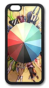 Beach Umbrellas And Cartoon Girls TPU Silicone Case Cover for iphone 6 4.7inch black