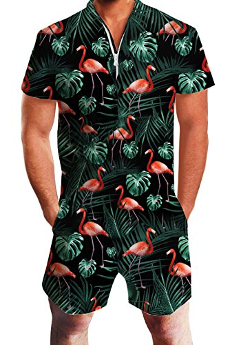 (AIDEAONE Men Summer 3D Flamingos Printed Designed Party Rompers Hipster Jumpsuit)