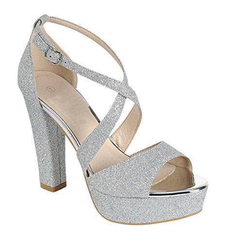Cambridge Select Womens Peep Toe Crisscross Ankle Strappy Glitter Platform High Heel Dress Sandal Silver XYdJHpO0gY