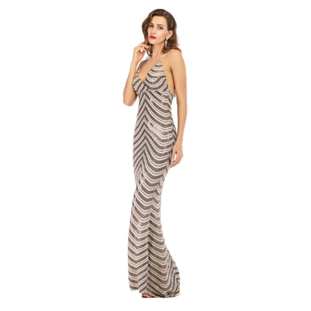 Black SPFAZJ 2019 New Sexy Suspender Halter Dress Deep VNeck Mopping Dress