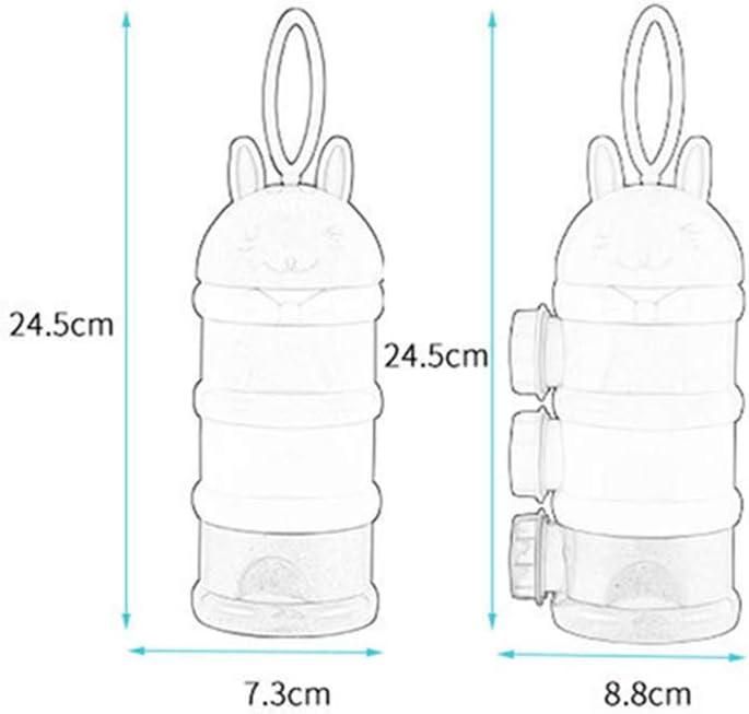 wufeng Port/átil Botella de Polvo de los Alimentos para ni/ños Cajas de Almacenamiento de contenedores de Alimentos de beb/é Infantil f/órmula a la Leche en Polvo Botella 3 Celdas de la cuadr/ícula