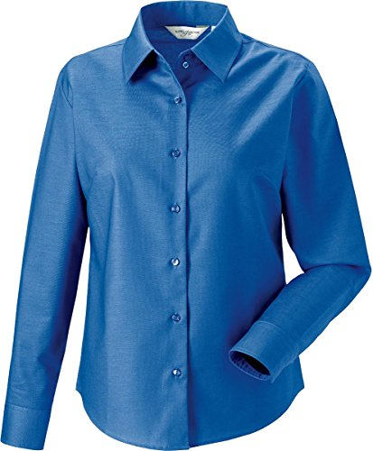 New para mujer Russel vestir Office de manga corta de mujer de manga larga para Oxford Tops de visita de patrones de costura para camisas Oxford Blue