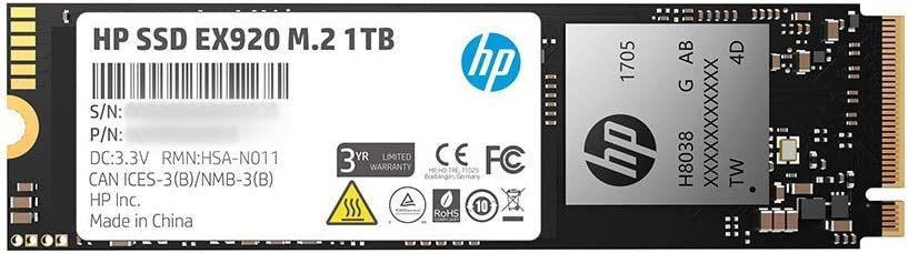 HP EX920 M.2 1TB PCIe 3.1 X4 Nvme 3D TLC NAND Internal Solid State Drive (SSD) Max 3200 Mbps 2Yy47Aa#ABC