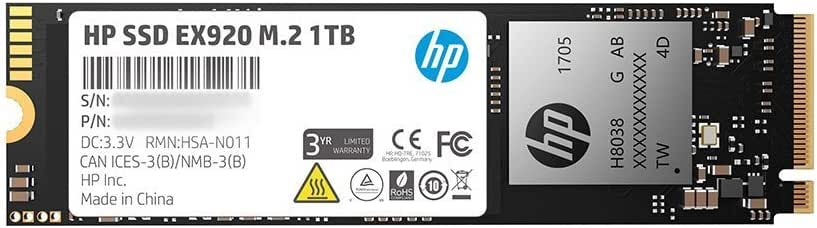 HP EX920 M.2 1TB PCIe 3.1 X4 Nvme 3D TLC NAND Internal Solid State Drive (SSD) Max 3200 Mbps 2Yy47Aa#ABC
