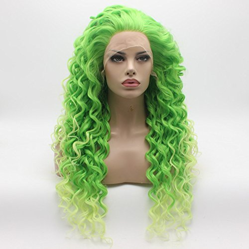 Lushy Kinky Curly Long Green Root Light Green Ombre Wig Heavy Density Heat Resistant Synthetic Lace Front Wig -