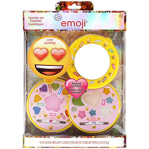Townley Girl Emoji Sparkly Lip Gloss for Girls, 16 Assorted