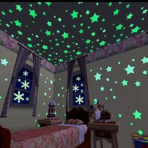 Fecedy Blue 300pcs Plastic 3D Stars Glow in the Dark Fluorescent Wall Stickers Decal For Baby Kids (Glow Dark Wall)