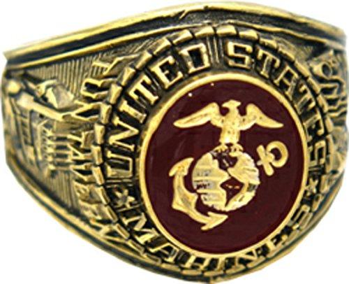HMC U.S. Marine Corps Ring (8, gold-plated-base) (Best Marine Corps Bases)