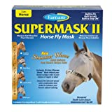 Farnam SuperMask II Shimmer Weave Horse Fly Mask, Horse size, Silver Mesh with Lynx Trim