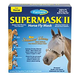 Farnam SuperMask Shimmer Weave Fly Control Mesh for Horses, Horse, Silver with Lynx Trim