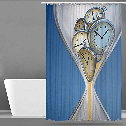 ONECUTE Kids Bathroom Shower Curtain,Clock Hourglass Time Clocks with Sand Pattern for Home A Vintage Design Print,Fabric Shower Curtain Bathroom,W94x72L Blue and Sand Brown