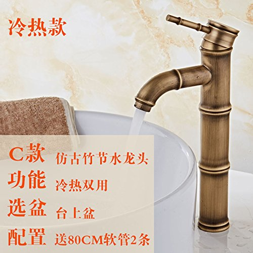 4 LHbox Basin Mixer Tap Bathroom Sink Faucet BlackAntique cold and hot-tub above antique faucet full copper antique wash basins with high bamboo-C1 single cold tap.