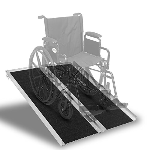 (Portable Aluminum Wheelchair Ramp Foldable Separated Mobility Scooter Traction Ramp with Carrying Handle 3 Feet)