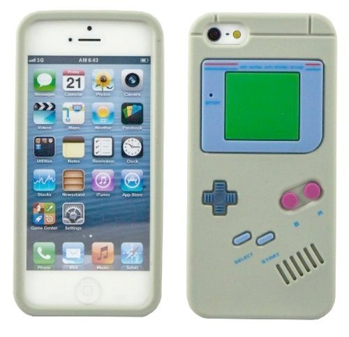 Generic Premium Retro Gameboy Design Silicon Soft Case Cover for Apple iPhone 5/5S (Gray) - Retail Packaging (Iphone 5 Cases Gameboy)