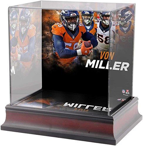 Sports Memorabilia Von Miller Denver Broncos Deluxe Mini Helmet Case - Football Mini Helmet Free Standing Display Cases