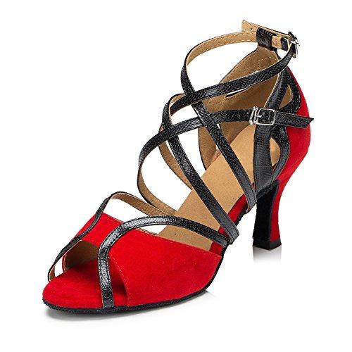 Minitoo - Zapatillas de danza de sintético para mujer Red-7.5cm Heel