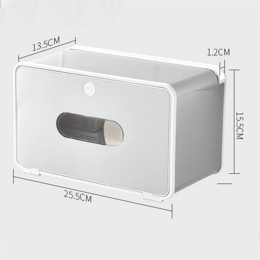 ZYN Bathroom Tissue Box- Wall-Mounted Toilet Paper Tray Household Stainless Steel Waterproof Punch Free (Color : C Large)
