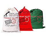 3 Pack Christmas Bag Santa Sack Canvas Bag For