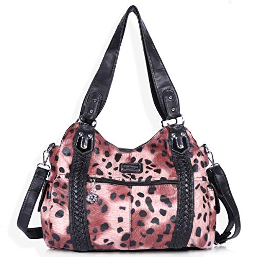 (Angel Barcelo Roomy Fashion Hobo Womens Handbags Ladies Purse Satchel Shoulder Bags Tote Washed Leather Bag Pink)