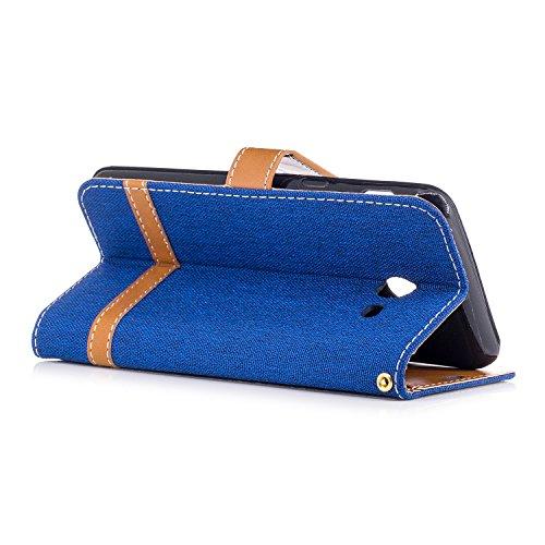 Para Samsung Galaxy J5 (2016) SM-J510F funda, (Cowboy púrpura) Dril de algodón de colores mezclados caja del teléfono móvil de cuero PU Leather cubierta Función de Soporte Billetera con Tapa para Tarj Vaquero azul