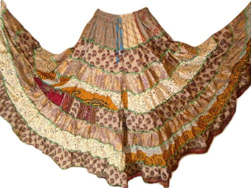 (Multi Shaded 9 Yard Tribal Gypsy Maxi Tiered Skirt Belly Dancing Skirts Silk Blend M L (C22))