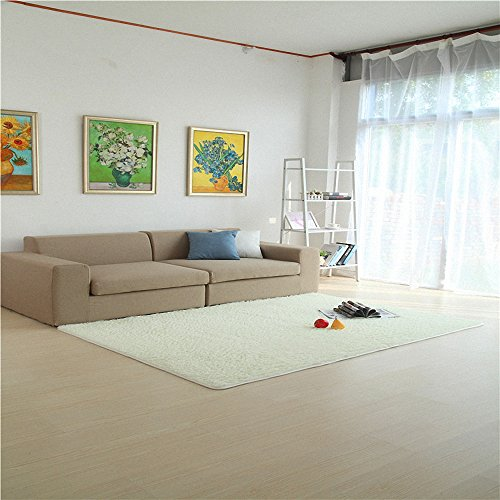 HANYUN Super Soft Modern Living Room Bedroom Anti-skid Shag Area Rug Carpet 4-Feet By 5-Feet / 120cm 160cm (White) (Closeout Outdoor Furniture Sale)