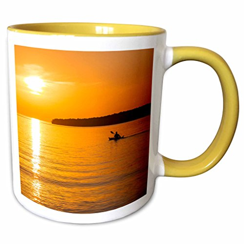 Sea Kayaking Lake Superior - 3dRose Danita Delimont - Kayaking - Kayak, Apostle Islands, Lake Superior, Wisconsin, USA - US50 CHA0065 - Chuck Haney - 11oz Two-Tone Yellow Mug (mug_148874_8)