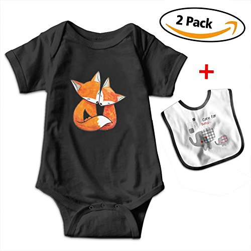 Leopoldson Funny Fox Couple Love Baby Short Sleeve Bodysuits Onesies with Baby Bib by Leopoldson
