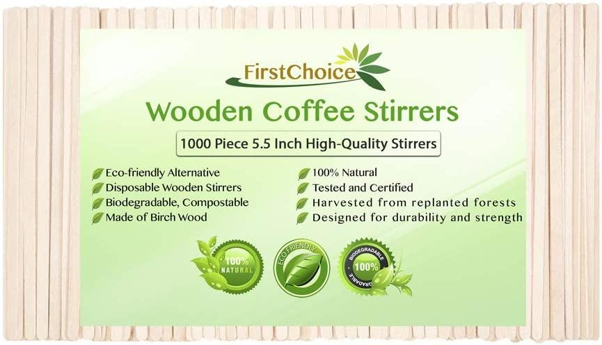 1000 Disposable Birch Wood Beverage Coffee Stirrers 5.5 Inch Length Round Corners Wooden Coffee Stirrers (1000 Stirrers) in Paper Box