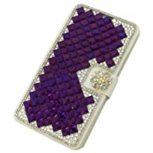 "Moto G2 Case, Motorola Moto G (2nd Generation) Case,3D Diamonds Rhinestone Bling Silk Pattern Leather Cover Flip Wallet Case for Motorola Moto G (2nd Generation 2014) Purple(Package includes: 1 X Screen Protector and Stylus Pen image""Gift_Source"")"