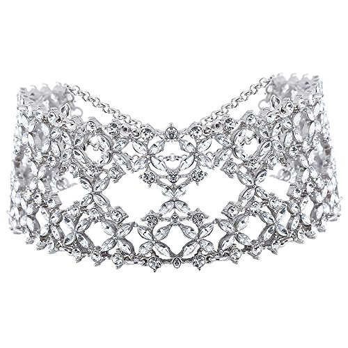 Young & Forever ''Trendsetter Collection'' Silver Plated Clear Crystal A night to Remember Wedding Bridal Choker Necklace for Women and Girls by CrazeeMania (N80360) by Young & Forever