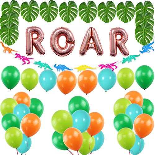 Dinosaur Party Supplies, ROAR Banner with Orange Green Sky Blue Assorted Latex Balloons, Palm Leaves Garland for Dinosaur Theme Party Decoration, Children's Birthday Party Jurassic Dino Decoration]()