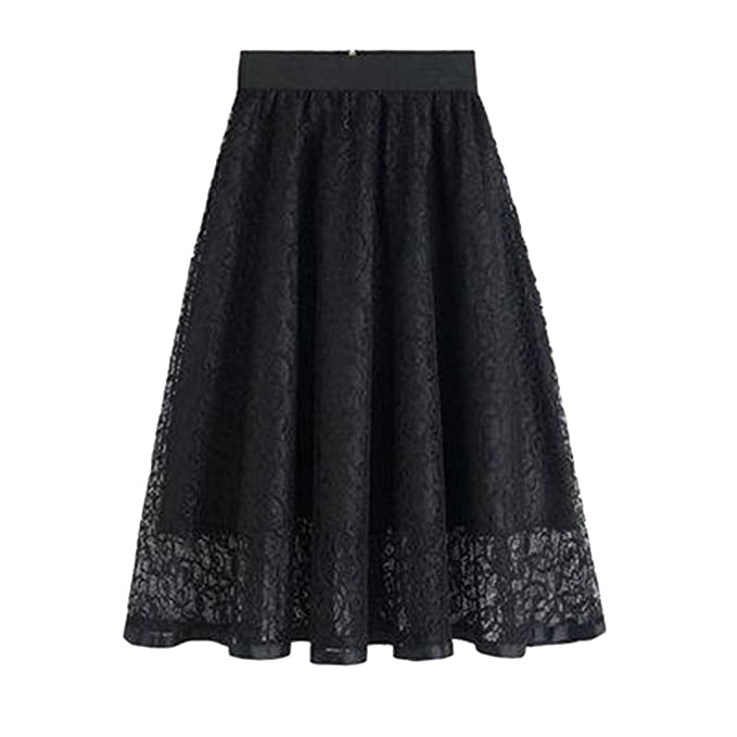 f24e1e647c Molif Summer Hollow Out Lace Floral Embroideried Skirts Womens Tutu Skater  Skirt Midi Ball Gown Black