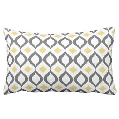 Decorative Retro Geometric Ikat Yellow Gray Pattern Bedding